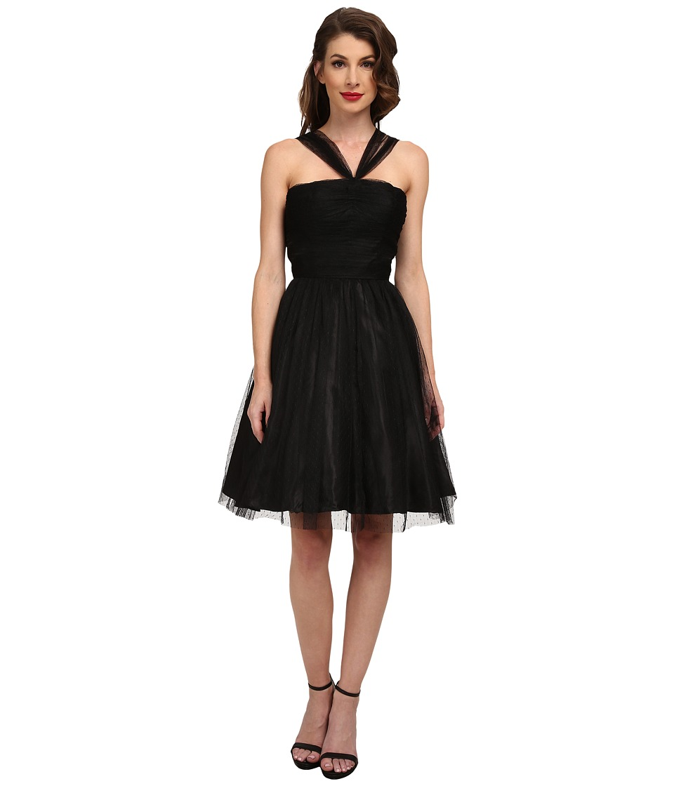 Unique Vintage - Dotted Madison Dress (Black) Women's Dress
