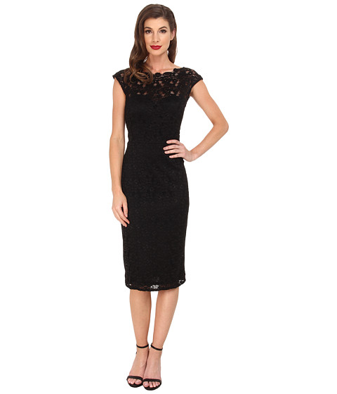 Unique Vintage - Lace Blanche Wiggle Dress (Black) Women