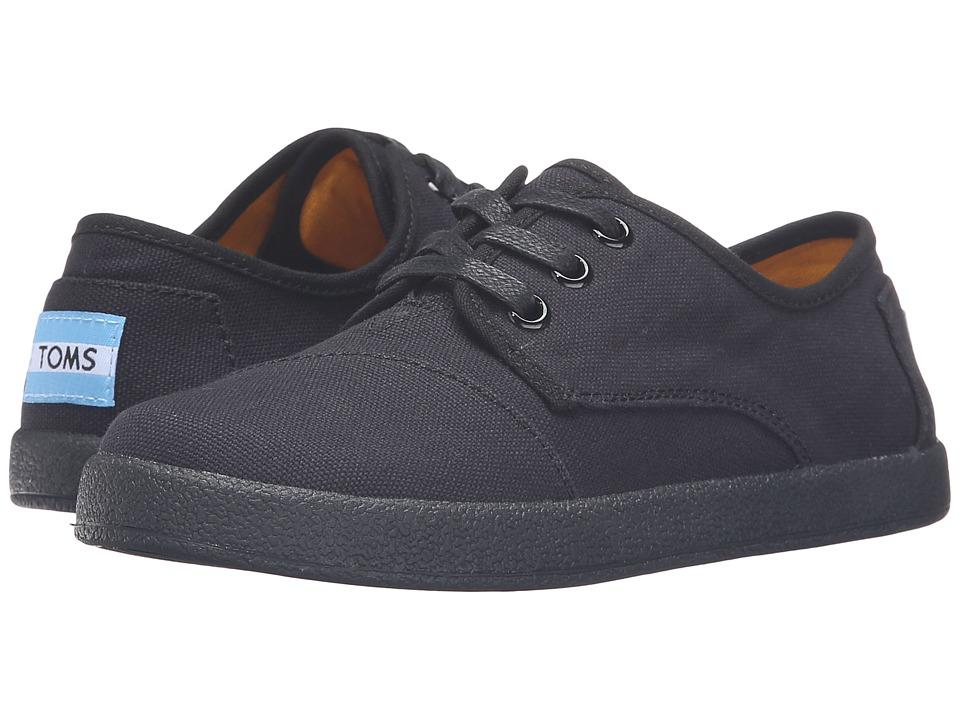 TOMS Kids - Paseo Sneaker (Little Kid/Big Kid) (Black/Black Canvas) Kids Shoes