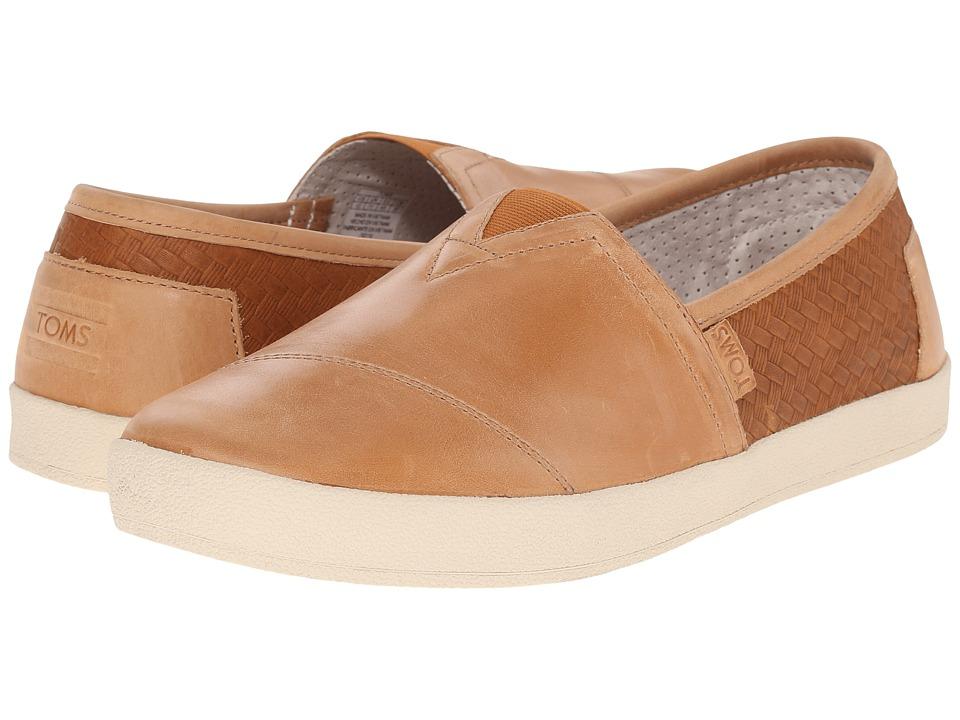 TOMS - Avalon Slip-On (Light Brown Full Grain Leather/Weave Emboss) Men's Slip on Shoes