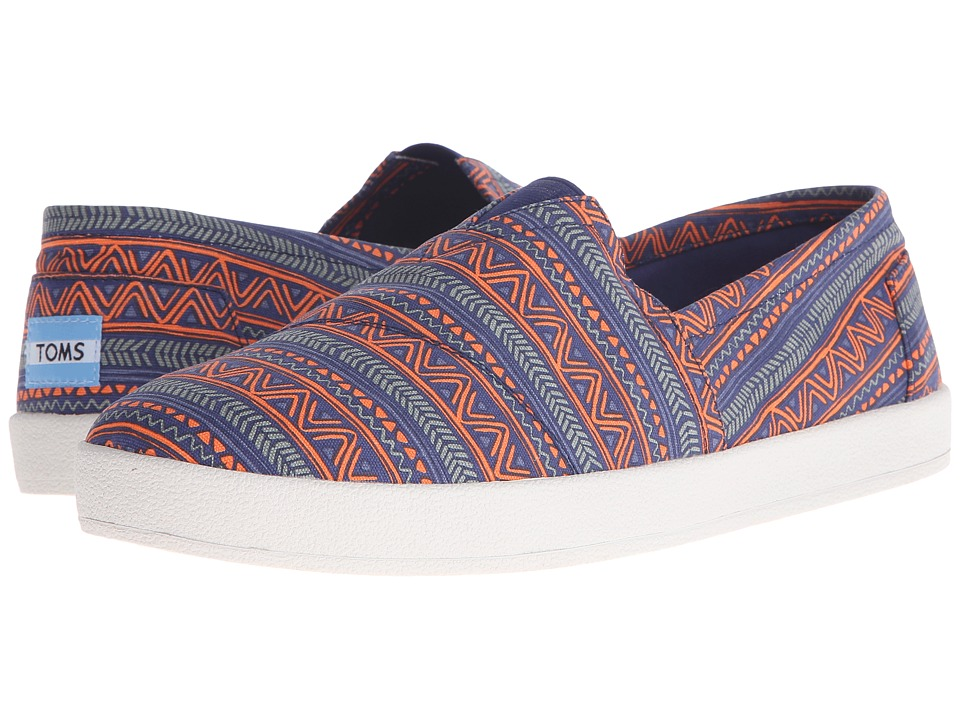 TOMS - Avalon Slip-On (Blue/Orange Zig Zag) Men's Slip on Shoes