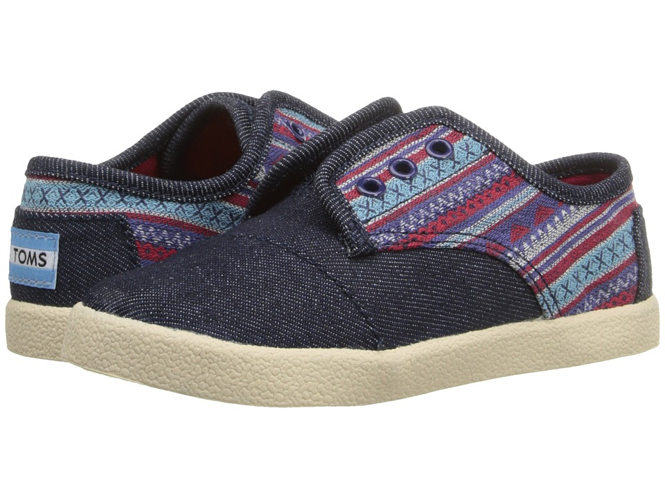 TOMS Kids - Paseo Sneaker (Infant/Toddler/Little Kid) (Blue Denim Geo Textile) Kids Shoes
