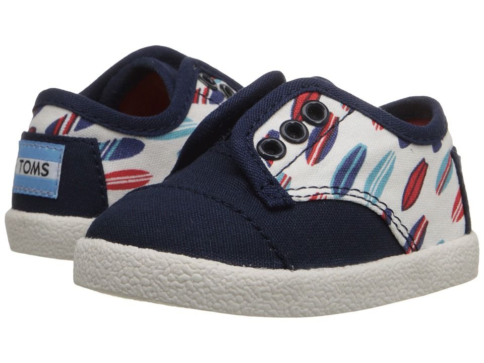 TOMS Kids - Paseo Sneaker (Infant/Toddler/Little Kid) (Blue Canvas Surf Boards) Kids Shoes