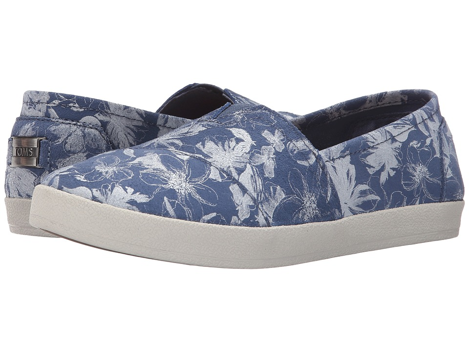 TOMS - Avalon Slip-On (Blue Suede Floral) Women's Slip on Shoes