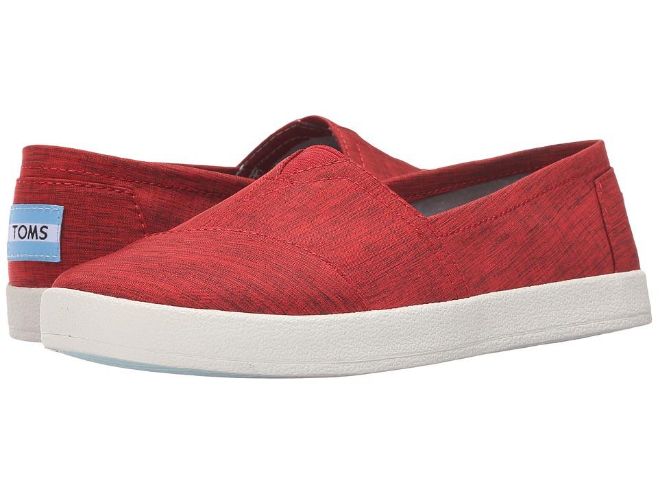 TOMS - Avalon Slip-On (Red Brushed Nylon) Women's Slip on Shoes