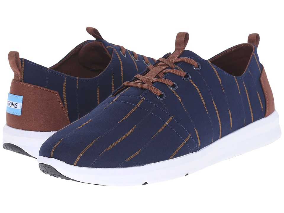 TOMS Del Rey (Navy/Brown Mini Stripe) Men