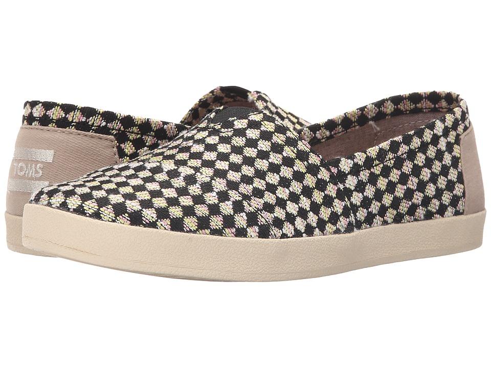 TOMS - Avalon Slip-On (Black Tan Woven Check) Women's Slip on Shoes