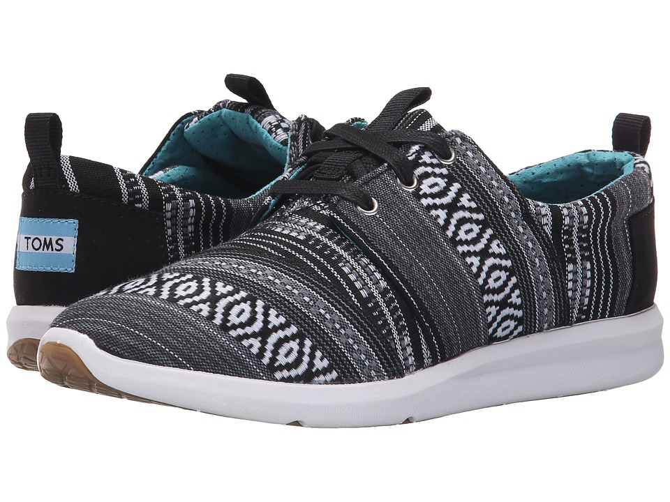 TOMS - Del Rey Sneaker (Black/White Cultural Woven) Women's Lace up casual Shoes