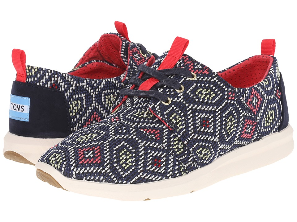 TOMS - Del Rey Sneaker (Navy Multi Woven) Women's Lace up casual Shoes