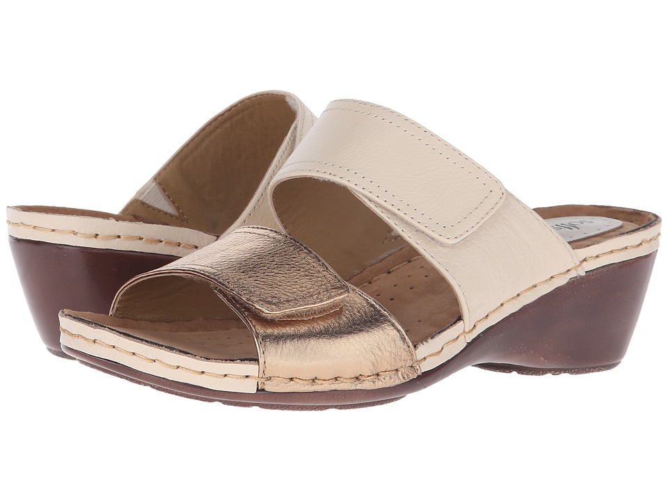 Comfortiva - Panama - Soft Spots (Beige/Gold Calf Ionic/Cow Metallic) Women's Slide Shoes
