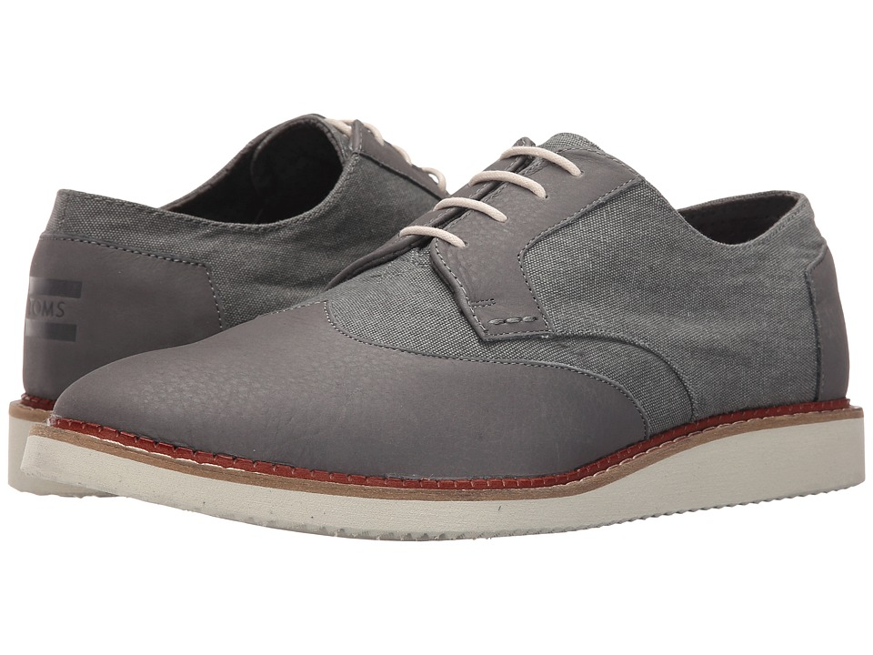 TOMS - Brogue (Dark Grey Leather/Washed Canvas) Men's Lace up casual Shoes