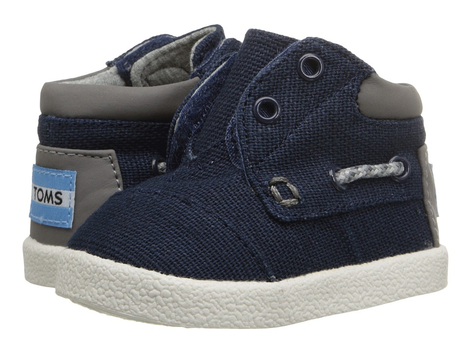 TOMS Kids - Bimini High Sneaker (Infant/Toddler/Little Kid) (Navy Burlap) Kids Shoes