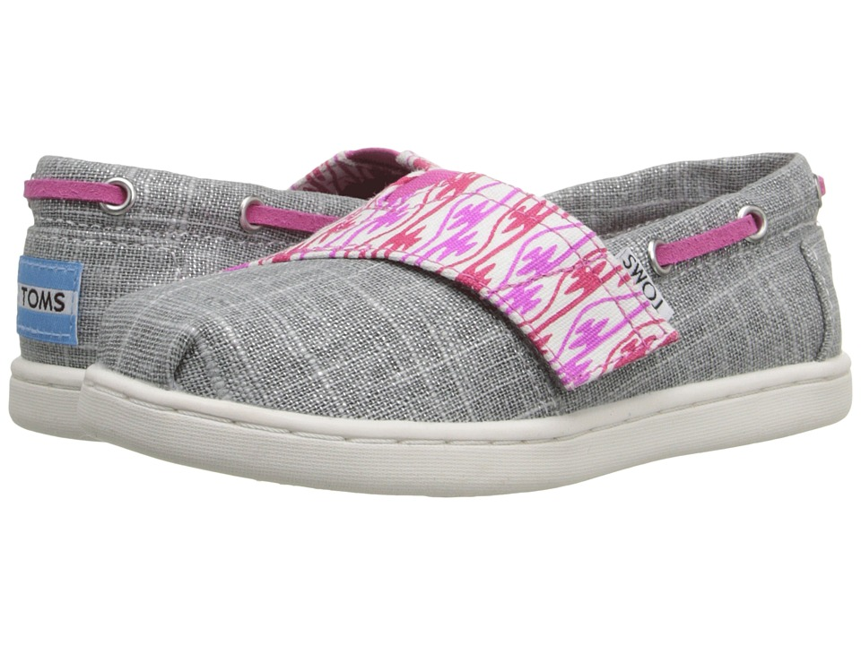 TOMS Kids - Bimini Espadrille (Infant/Toddler/Little Kid) (Silver Burlap/Pink Serape) Kids Shoes
