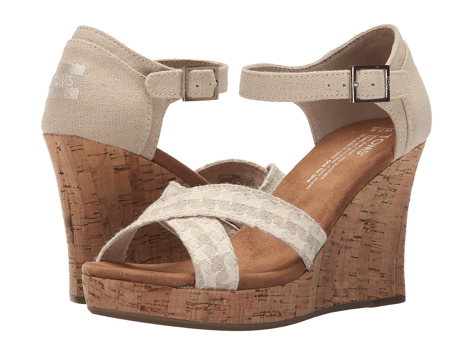 TOMS - Strappy Wedge (Natural Woven/Cork) Women's Wedge Shoes
