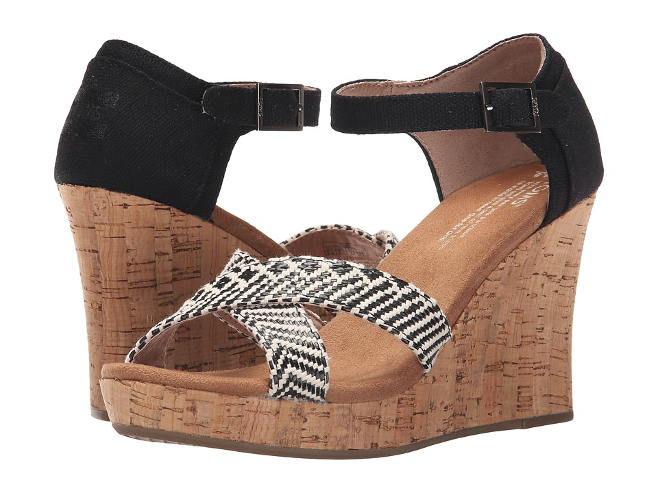 TOMS - Strappy Wedge (Black Woven/Cork) Women's Wedge Shoes