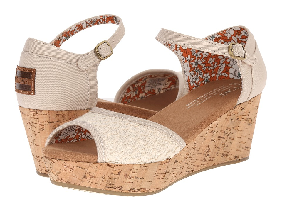 TOMS - Platform Wedge (Natural Textured Woven/Cork) Women's Wedge Shoes