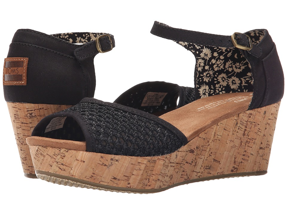 TOMS - Platform Wedge (Black Crochet/Cork) Women's Wedge Shoes
