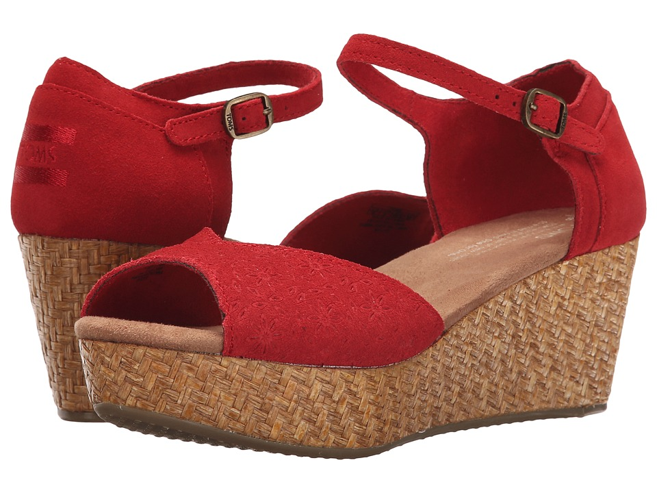 TOMS - Platform Wedge (Red Suede Embossed/Wrapped) Women's Wedge Shoes
