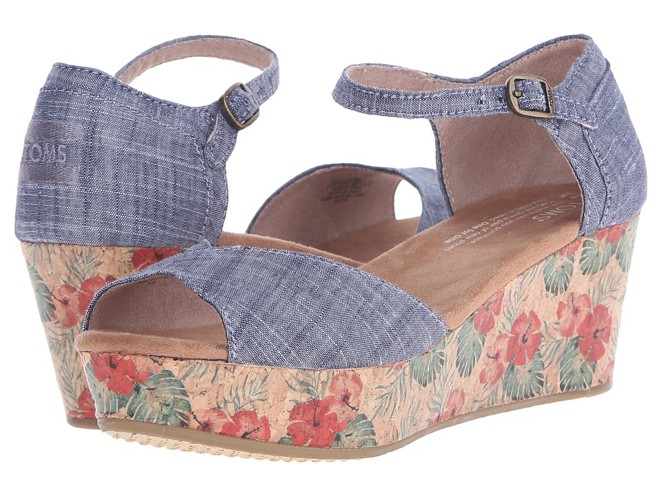 TOMS - Platform Wedge (Chambray/Floral Cork) Women's Wedge Shoes