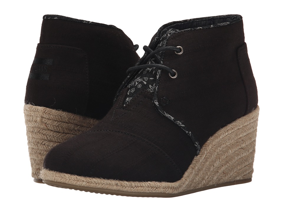TOMS Desert Wedge (Black Textured Linen) Women