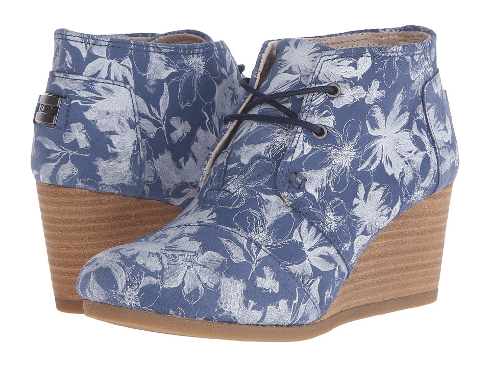 TOMS - Desert Wedge (Blue Suede Floral) Women's Wedge Shoes