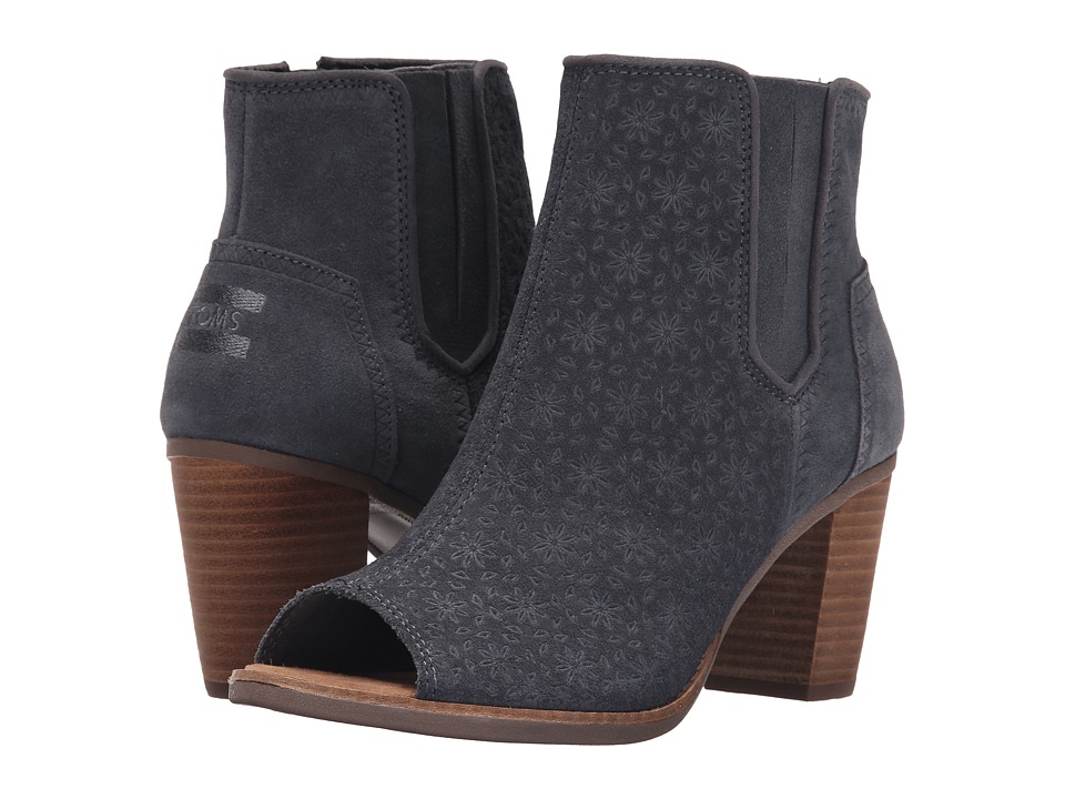 TOMS - Majorca Peep Toe Bootie (Dark Grey Suede Embossed) Women's Toe Open Shoes