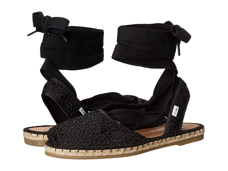 TOMS - Bella Espadrille (Black Moroccan Crochet) Women's Shoes
