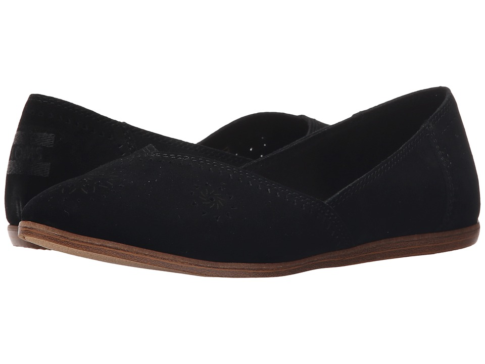 TOMS - Jutti Flat (Black Suede Perforated) Women's Flat Shoes