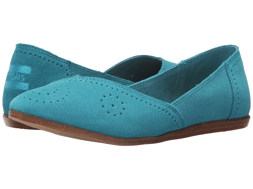Toms Jutti Flat (Turquoise Suede Perforated) Women's Flat...