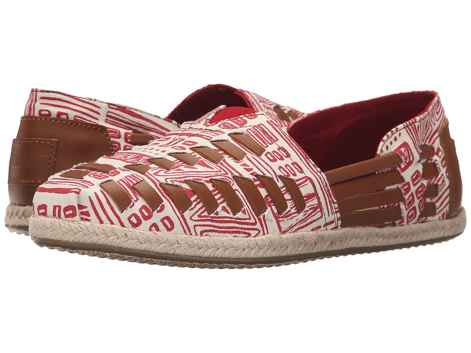 TOMS - Alpargata Huarache (Natural Red Tiki Print) Women's Slip on Shoes