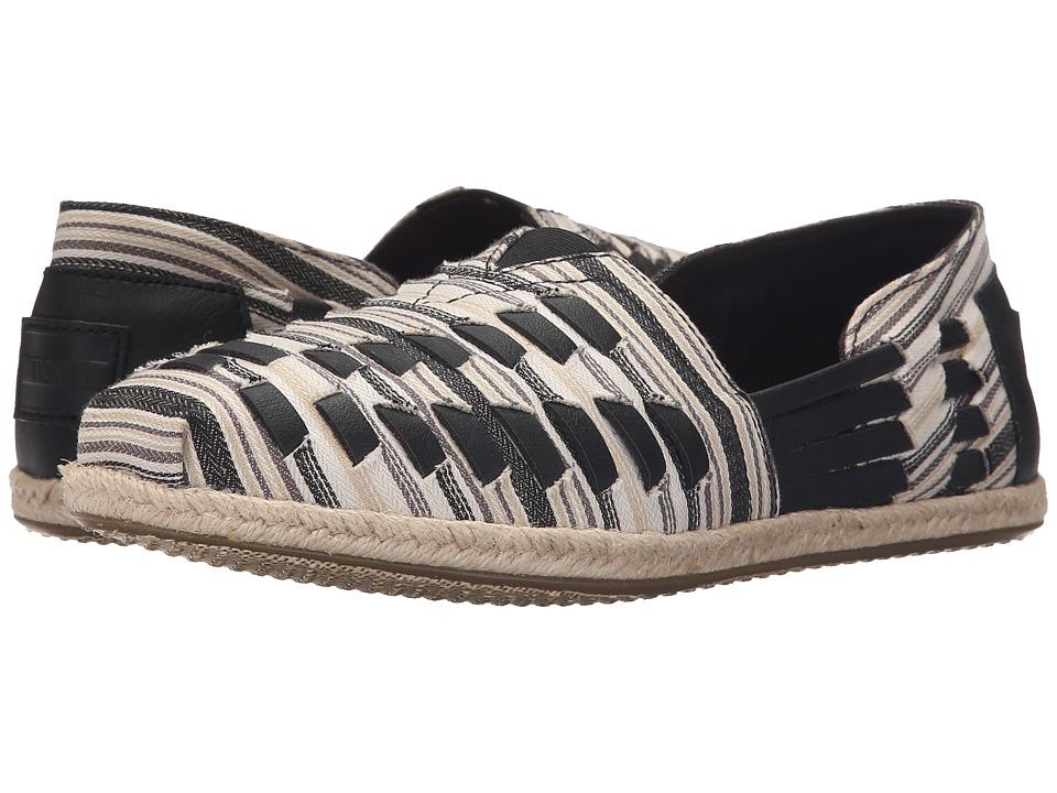 TOMS - Alpargata Huarache (Black/White Woven) Women's Slip on Shoes