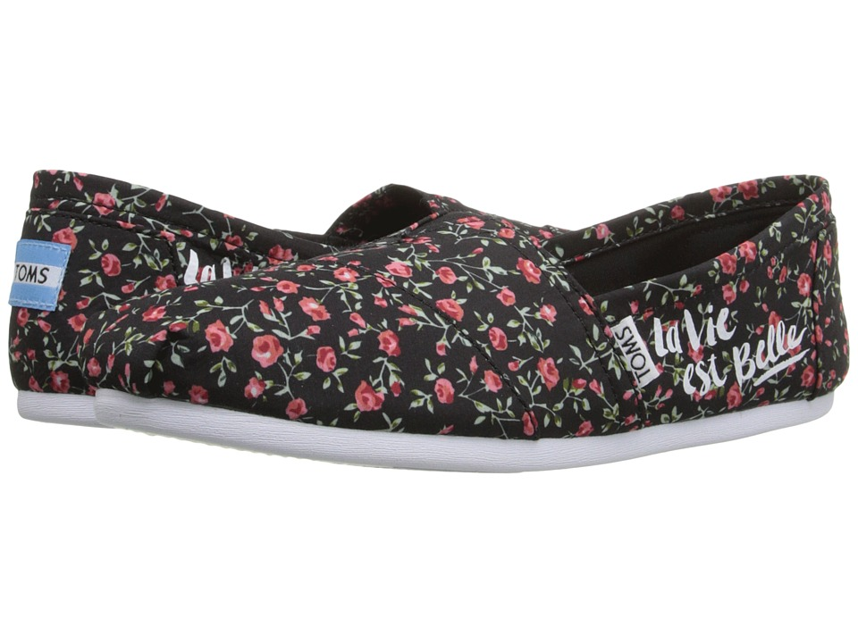 TOMS - Seasonal Classics (Black Textile Floral) Women's Slip on Shoes