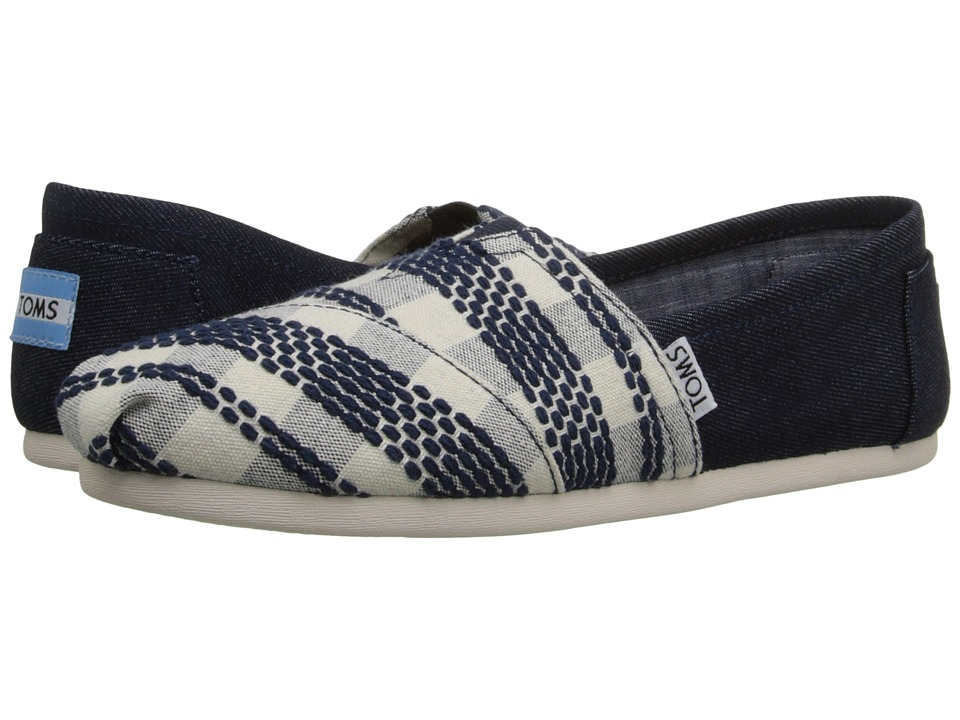 TOMS - Woven Classics (Navy Woven) Women's Slip on Shoes