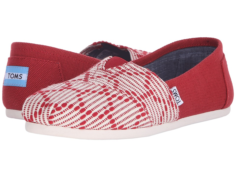 TOMS - Woven Classics (Red Woven) Women's Slip on Shoes
