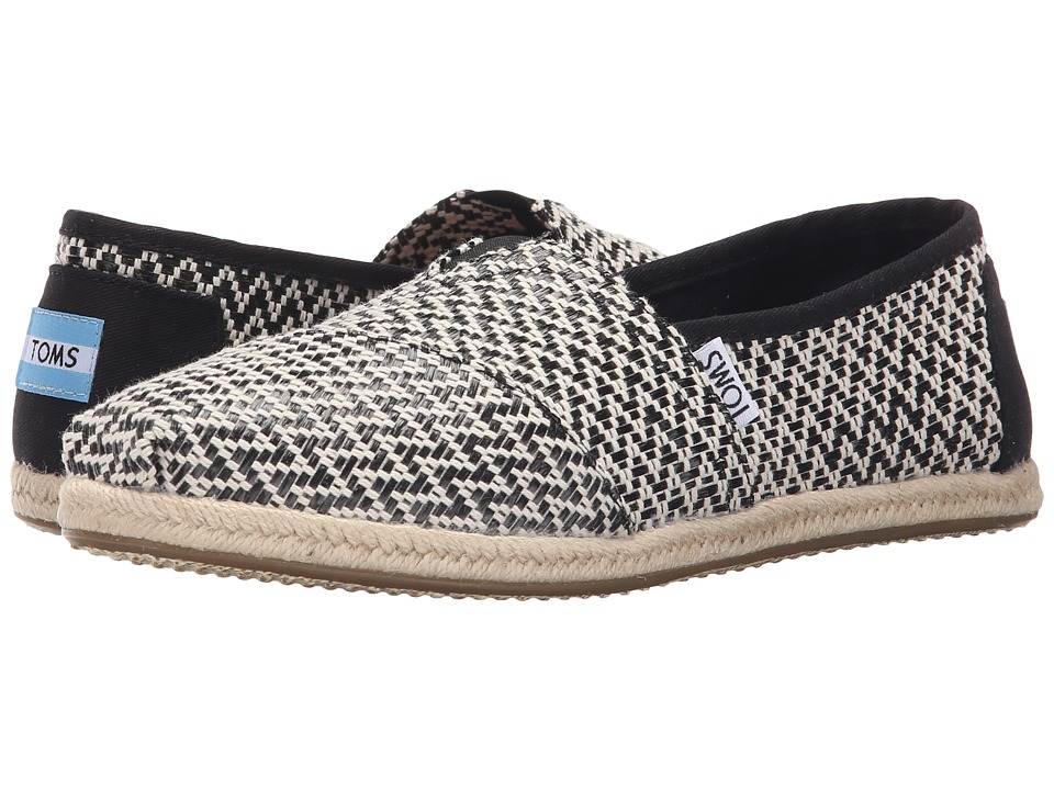 TOMS - Seasonal Classics (Black Woven/Rope) Women's Slip on Shoes