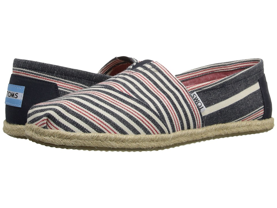 TOMS - Seasonal Classics (Navy Red Stripe/Rope) Women's Slip on Shoes