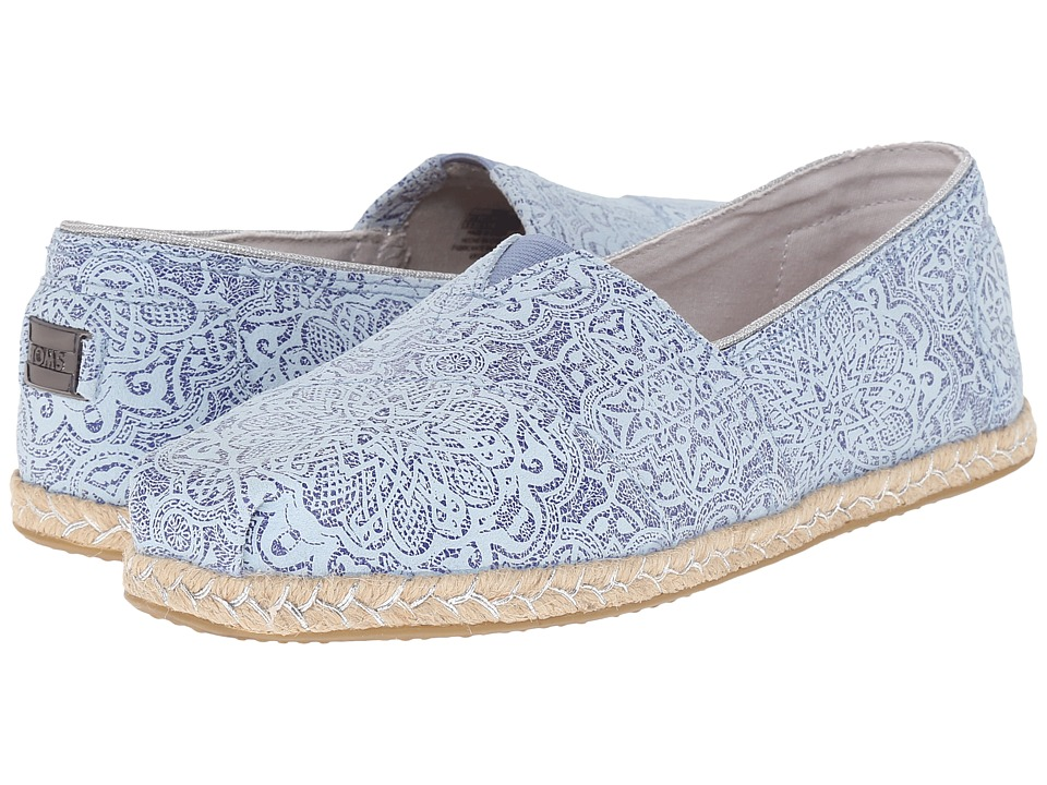 TOMS Seasonal Classics Blue Tiles Suede Printed Womens Slip on  Shoes