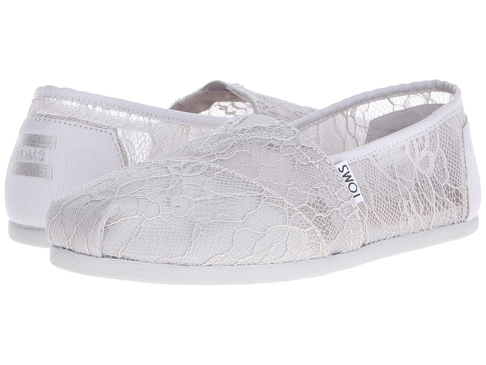 TOMS - Lace Classics (Light Grey Lace) Women's Slip on Shoes