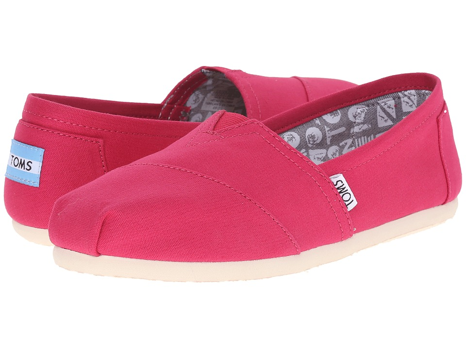 TOMS - Seasonal Classics (Barberry Pink Canvas) Women's Slip on Shoes