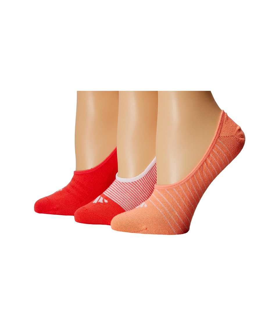 adidas - Superlight 3 Pair Super No Show (White/Sun Glow/Shock Red) Women's No Show Socks Shoes