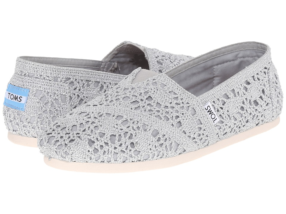 TOMS - Crochet Classics (Silver Crochet Metallic) Women's Slip on Shoes
