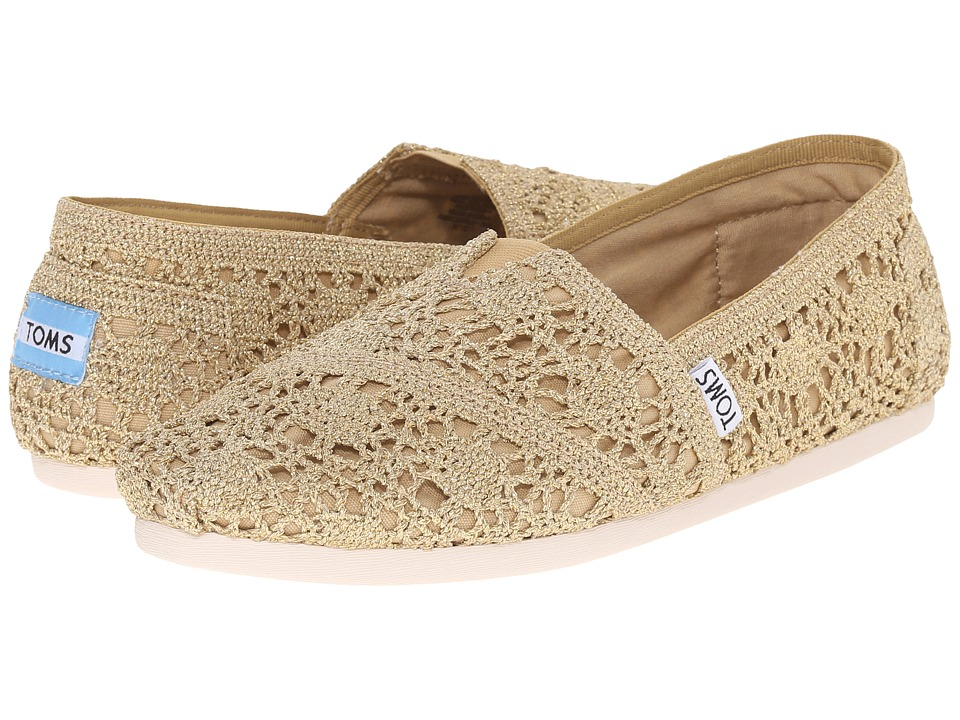 TOMS - Crochet Classics (Gold Crochet Metallic) Women's Slip on Shoes