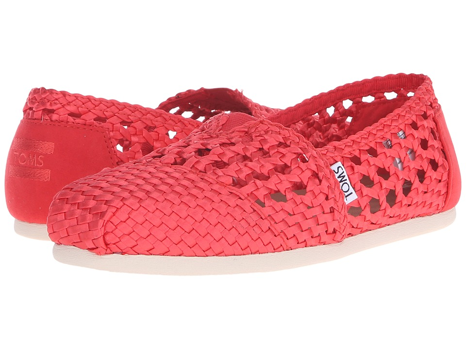 TOMS - Woven Classics (Red Satin Woven) Women's Slip on Shoes