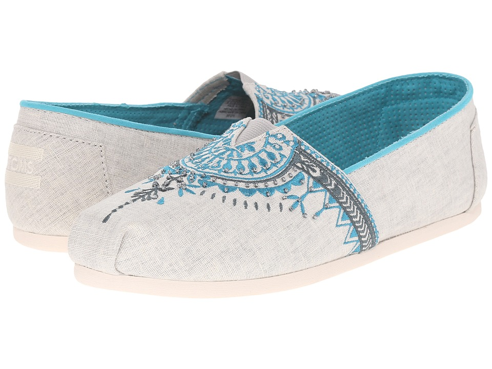 TOMS Seasonal Classics Light Grey Canvas Beaded Embroidery Womens Slip on  Shoes