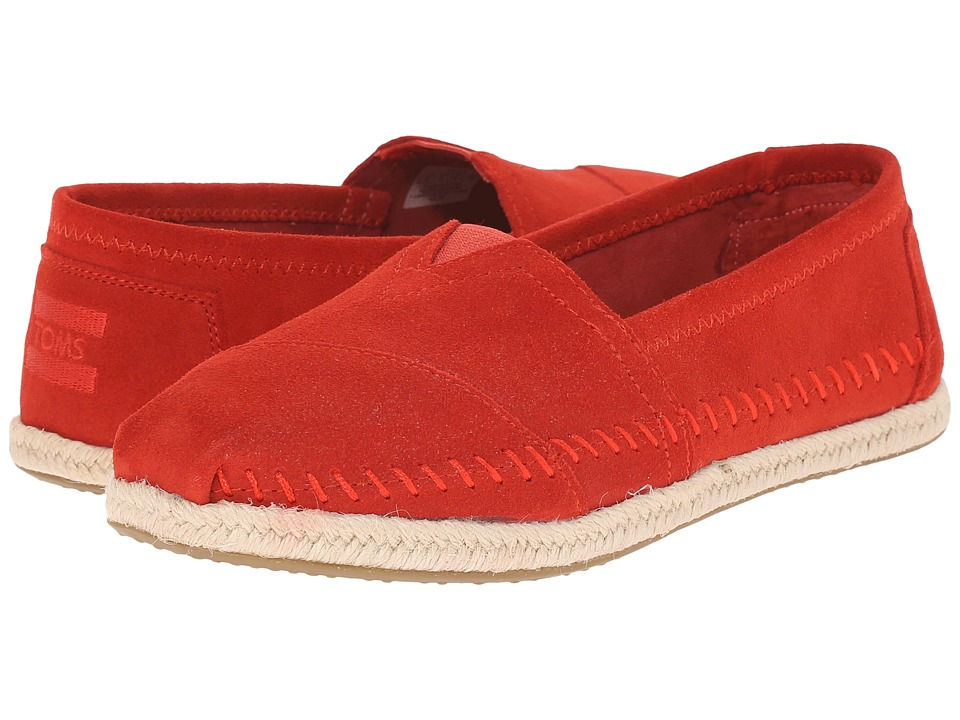 TOMS - Seasonal Classics (Red Suede/Rope) Women's Slip on Shoes