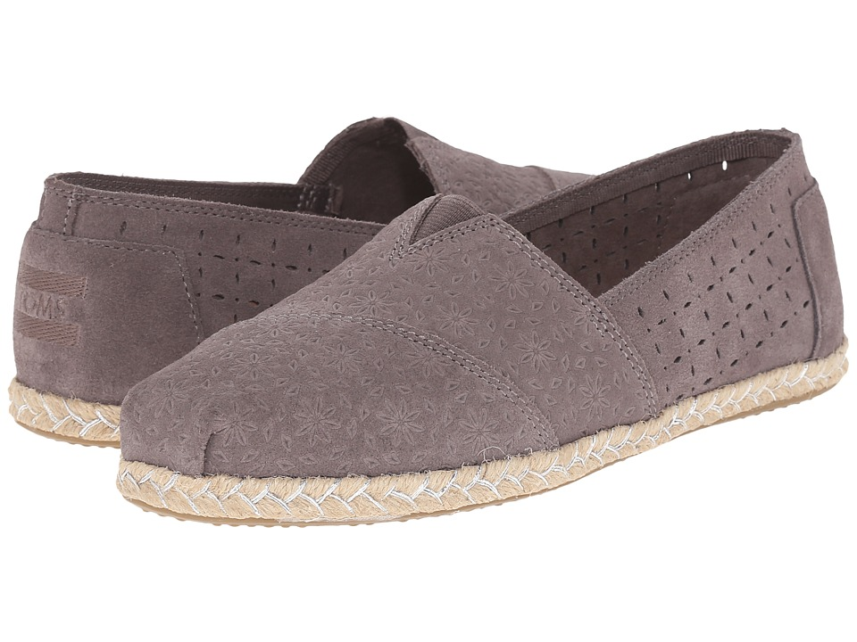 TOMS - Seasonal Classics (Dark Grey Suede Moroccan/Rope) Women's Slip on Shoes