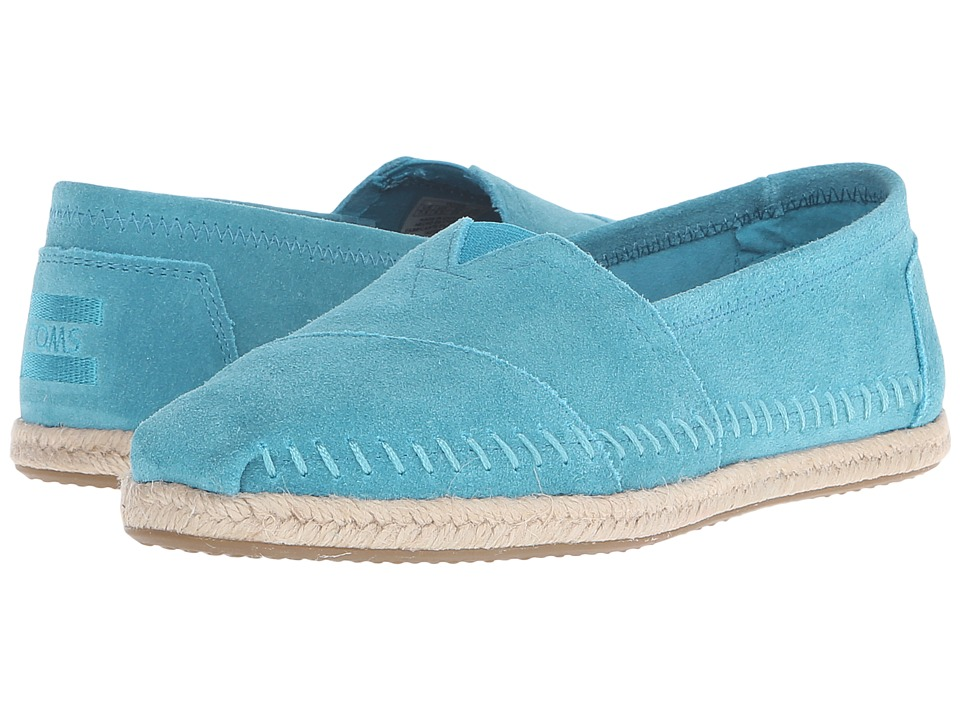 TOMS - Seasonal Classics (Turquoise Suede/Rope) Women's Slip on Shoes