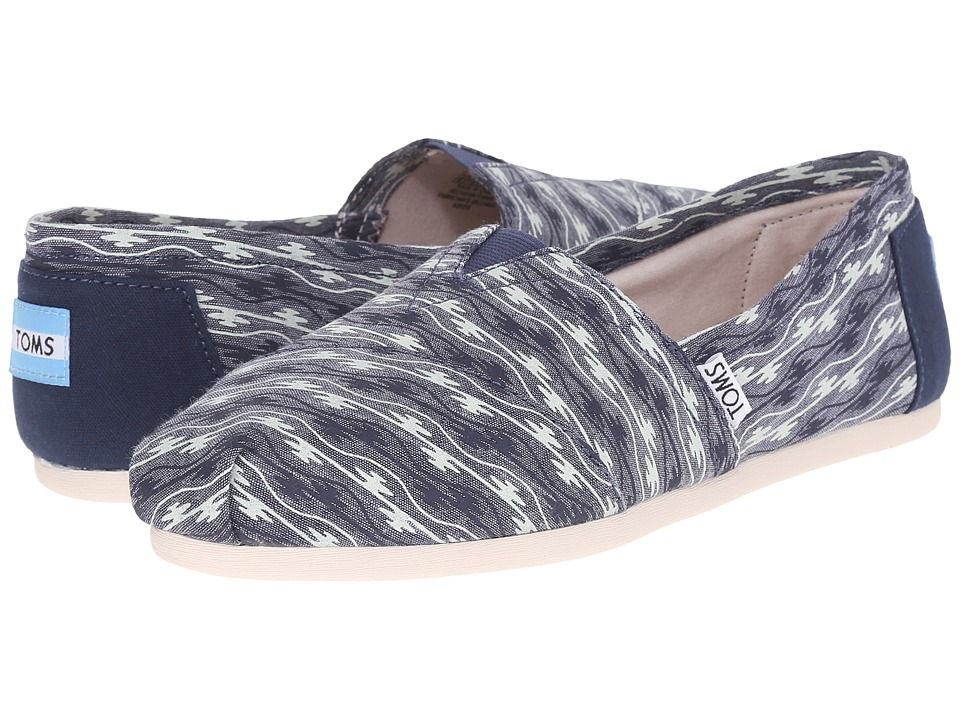 TOMS - Seasonal Classics (Blue Canvas Wave) Women's Slip on Shoes