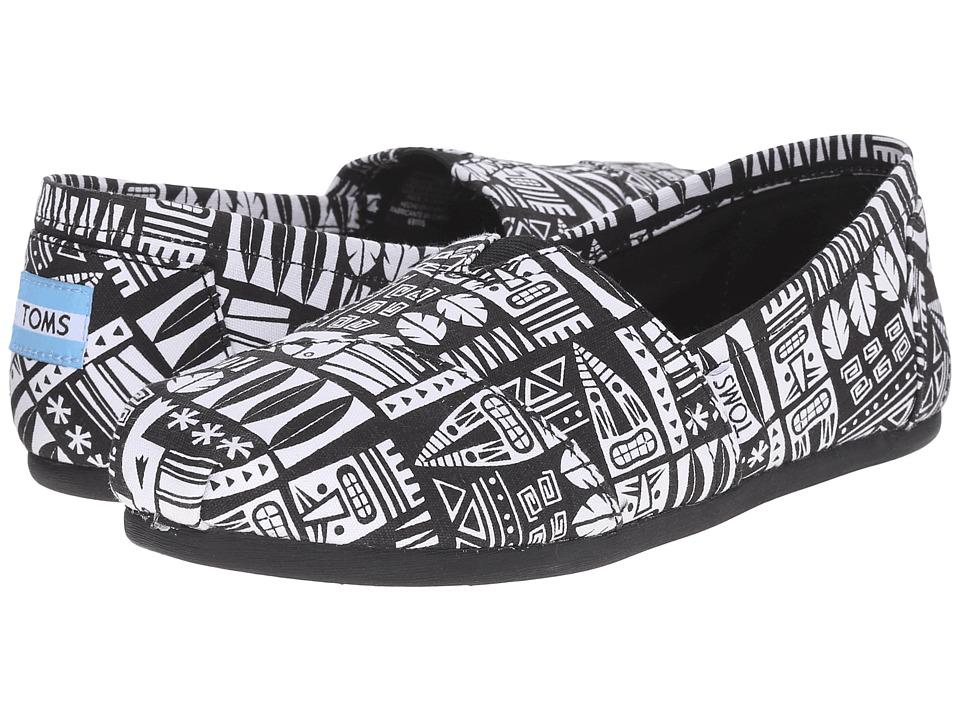 TOMS - Seasonal Classics (Black/White Canvs Tiki) Women's Slip on Shoes