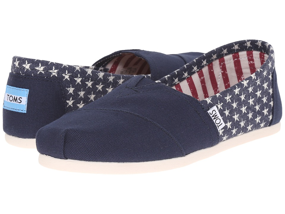 TOMS - Seasonal Classics (Americana Navy Canvas Stars) Women's Slip on Shoes